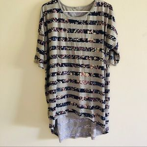 LulaRoe Floral Striped Tunic